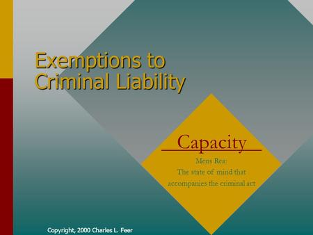 Copyright, 2000 Charles L. Feer Exemptions to Criminal Liability Capacity Mens Rea: The state of mind that accompanies the criminal act.