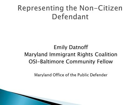 Emily Datnoff Maryland Immigrant Rights Coalition OSI-Baltimore Community Fellow Maryland Office of the Public Defender Representing the Non-Citizen Defendant.