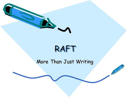 RAFTRAFT More Than Just Writing. RAFT Role of Writer Audience Format Topic + Strong Verb.