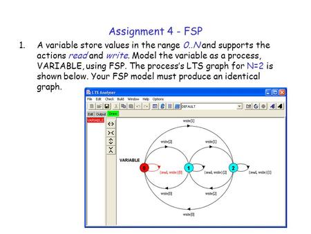 Assignment 4 - FSP A variable store values in the range 0..N and supports the actions read and write. Model the variable as a process, VARIABLE, using.