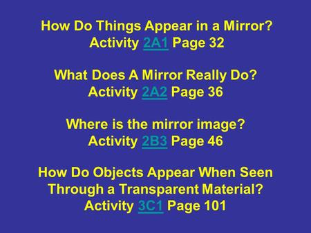 How Do Things Appear in a Mirror? Activity 2A1 Page 32 What Does A Mirror Really Do? Activity 2A2 Page 36 Where is the mirror image? Activity 2B3 Page.