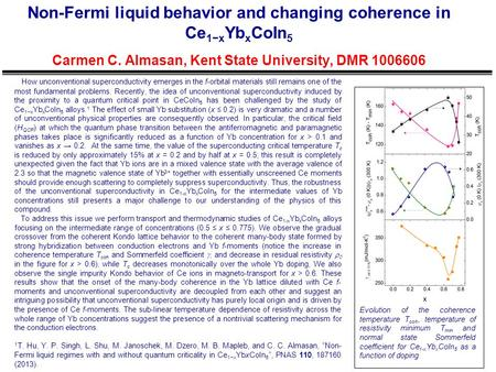 Non-Fermi liquid behavior and changing coherence in Ce 1−x Yb x CoIn 5 Carmen C. Almasan, Kent State University, DMR 1006606 Evolution of the coherence.