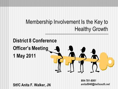 Membership Involvement Is the Key to Healthy Growth District 8 Conference Officer's Meeting 1 May 2011 Stf/C Anita F. Walker, JN 954-781-8061