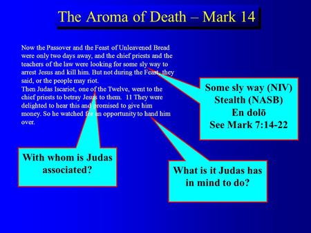 What is it Judas has in mind to do? Some sly way (NIV) Stealth (NASB) En dol ō See Mark 7:14-22 With whom is Judas associated? The Aroma of Death – Mark.