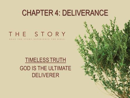 CHAPTER 4: DELIVERANCE TIMELESS TRUTH GOD IS THE ULTIMATE DELIVERER.