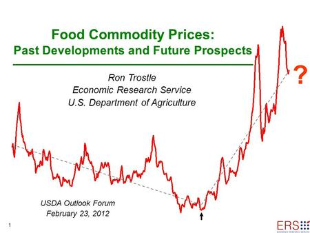 1 Food Commodity Prices: Past Developments and Future Prospects Ron Trostle Economic Research Service U.S. Department of Agriculture ? USDA Outlook Forum.