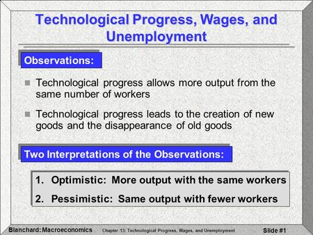 Technological Progress, Wages, and Unemployment