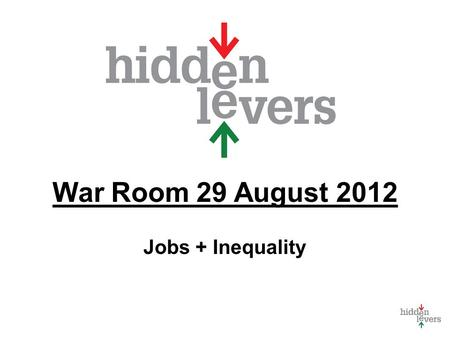 War Room 29 August 2012 Jobs + Inequality. War Room Monthly macro discussion Using tools in context Update on HiddenLevers Features Your feedback welcome.