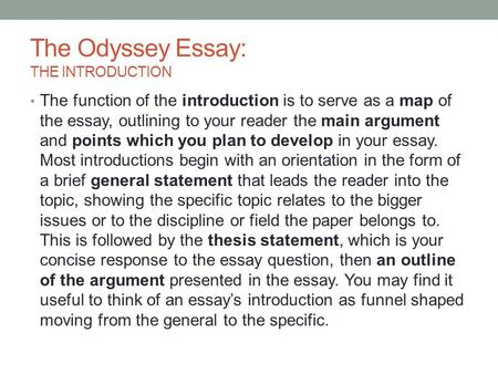 The Odyssey Essay: THE INTRODUCTION