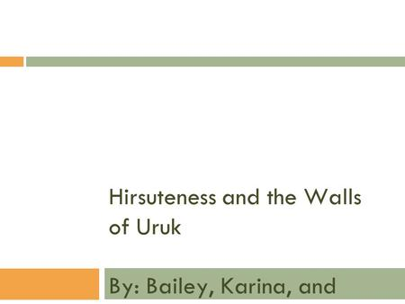 Hirsuteness and the Walls of Uruk By: Bailey, Karina, and Kelsey.