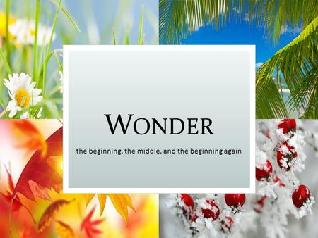 W ONDER the beginning, the middle, and the beginning again.