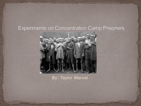 By: Taylor Marvel. Why the Nazi's experimented on Jews and other races.