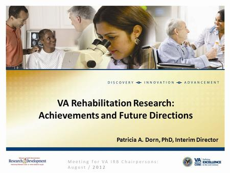 VA Rehabilitation Research: Achievements and Future Directions Meeting for VA IRB Chairpersons: August / 2012 Patricia A. Dorn, PhD, Interim Director.