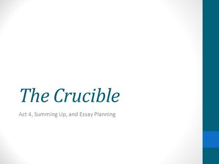 Hysteria in the crucible essay
