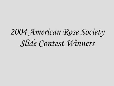 2004 American Rose Society Slide Contest Winners.