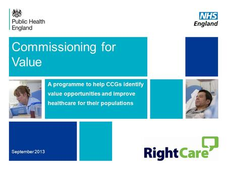 Commissioning for Value A programme to help CCGs identify value opportunities and improve healthcare for their populations September 2013.