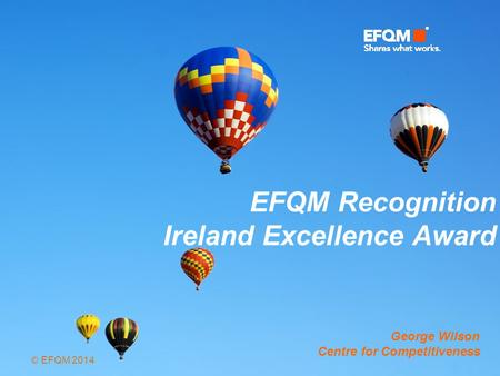 © EFQM 2014 EFQM Recognition Ireland Excellence Award George Wilson Centre for Competitiveness.