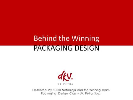 Behind the Winning PACKAGING DESIGN Presented by : Listia Natadjaja and the Winning Team Packaging Design Class – UK. Petra, Sby.