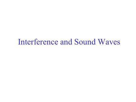Interference and Sound Waves
