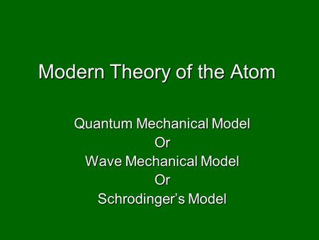 Modern Theory of the Atom Quantum Mechanical Model Or Wave Mechanical Model Or Schrodinger's Model.