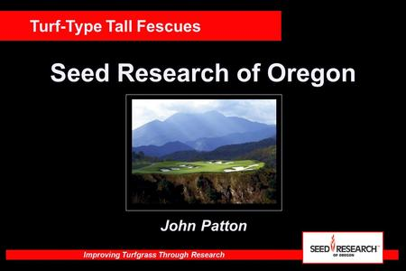 Improving Turfgrass Through Research Seed Research of Oregon Turf-Type Tall Fescues John Patton.