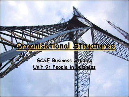 Organisational Structures GCSE Business Studies Unit 9: People in buisness.