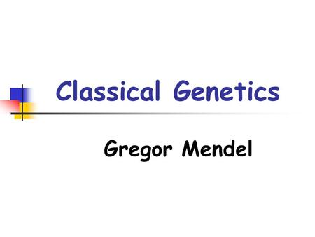 Classical Genetics Gregor Mendel. The Work of Gregor Mendel Genetics: the scientific study of heredity, or how traits are passed from one generation to.