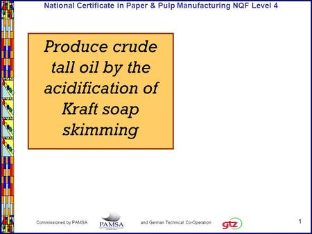 1 Commissioned by PAMSA and German Technical Co-Operation National Certificate in Paper & Pulp Manufacturing NQF Level 4 Produce crude tall oil by the.