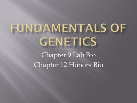 Chapter 9 Lab Bio Chapter 12 Honors Bio.  Brainstorm : - define genetics - define heredity  Anticipatory Set:  How important is it to be able to find.