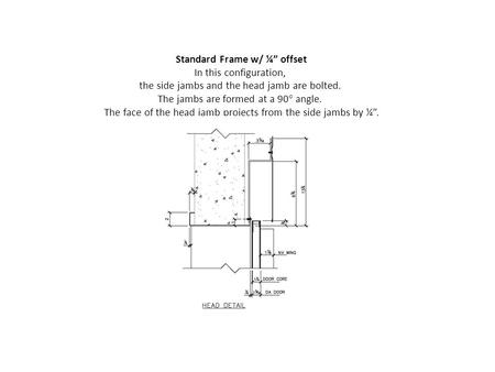 "Standard Frame w/ ¼"" offset In this configuration, the side jambs and the head jamb are bolted. The jambs are formed at a 90° angle. The face of the head."