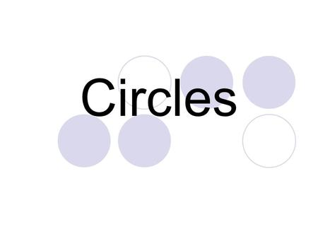 Circles. A circle is the set of all points in a plane that are equidistant from a given point called the center of the circle. circle A, or  A.