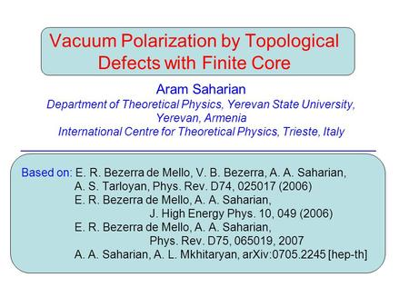 Vacuum Polarization by Topological Defects with Finite Core