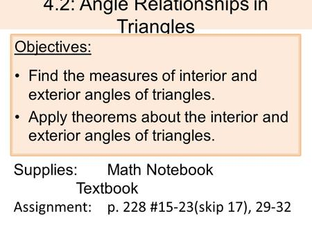 4.2: Angle Relationships in <strong>Triangles</strong>