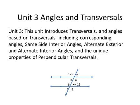 Unit 3 Angles and Transversals