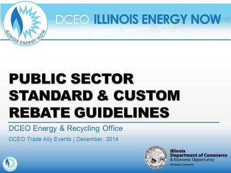 PUBLIC SECTOR STANDARD & CUSTOM REBATE GUIDELINES DCEO Energy & Recycling Office DCEO Trade Ally Events | December, 2014.