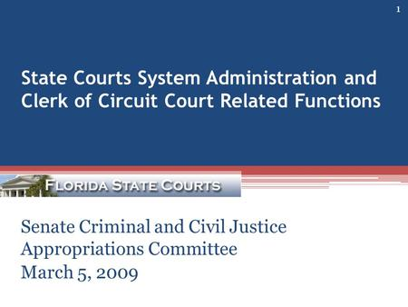 State Courts System Administration and Clerk of Circuit Court Related Functions Senate Criminal and Civil Justice Appropriations Committee March 5, 2009.