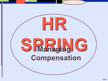 HR SPRING Managing Compensation 10-1. 10-2 Objectives:  Identify the compensation policies and practices that are most appropriate for a particular firm.