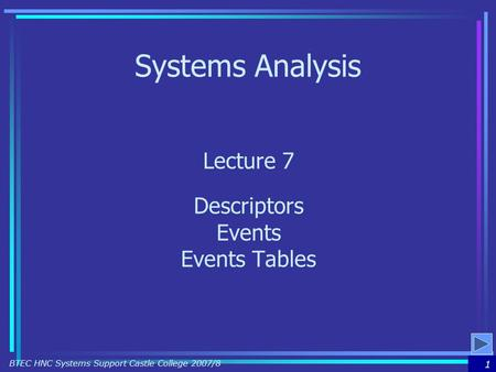 1 BTEC HNC Systems Support Castle College 2007/8 Systems Analysis Lecture 7 Descriptors Events Events Tables.