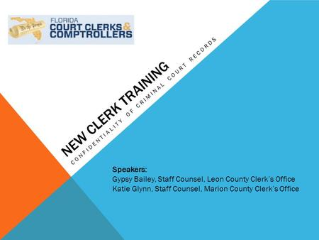 NEW CLERK TRAINING CONFIDENTIALITY OF CRIMINAL COURT RECORDS Speakers: Gypsy Bailey, Staff Counsel, Leon County Clerk's Office Katie Glynn, Staff Counsel,