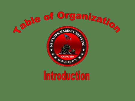 Table of Organization Introduction.