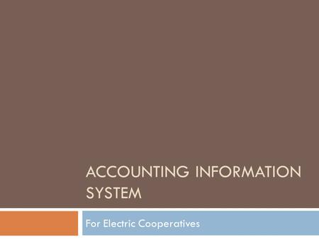 <strong>Accounting</strong> Information System