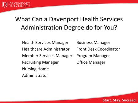 What Can a Davenport Health Services Administration Degree do for You? Health Services Manager Healthcare Administrator Member Services Manager Recruiting.