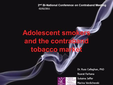 Adolescent smokers and the contraband tobacco market