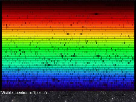 Fall 2014Astron 1Instructor: Babar Ali Visible spectrum of the sun.