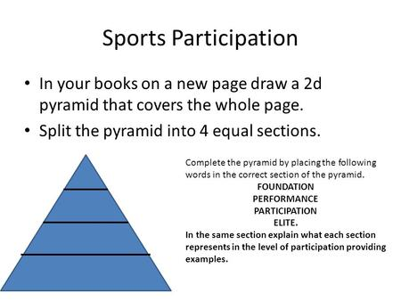 Sports Participation In your books on a new page draw a 2d pyramid that covers the whole page. Split the pyramid into 4 equal sections. Complete the pyramid.