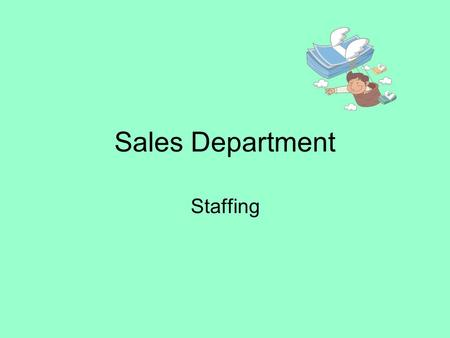 Sales Department Staffing The Team Managing Director Sales Directors –Sales People:- Further broken in areas; NSW, QLD, VIC and SA Financial Controllers.