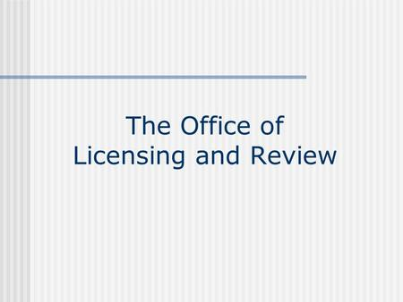 The Office of Licensing and Review. Licensing and Review Located within Technology Center 3600. The L&R staff consists of: Licensing and Review adminstrative.