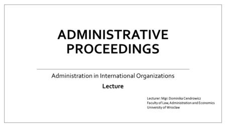 Administrative proceedings