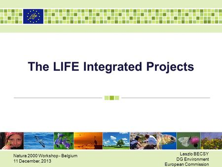 The LIFE Integrated Projects Natura 2000 Workshop - Belgium 11 December, 2013 Laszlo BECSY DG Environment European Commission.