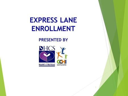 EXPRESS LANE ENROLLMENT PRESENTED BY 1. Express Lane Enrollment Overview Pursuant to federal provisions, individuals eligible for CalFresh can use this.